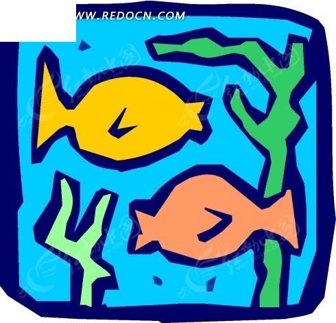 手绘插画-水草中的鱼