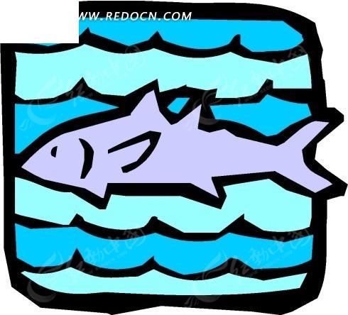 手绘插画-水中的小鱼