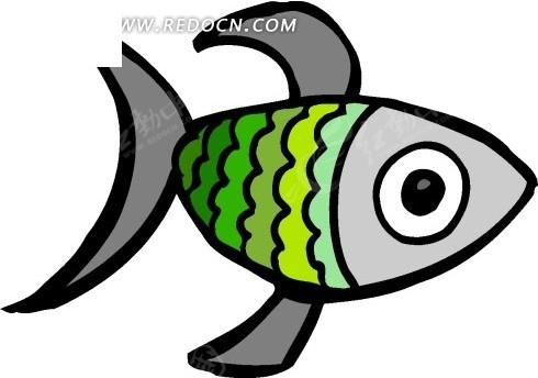 儿童手绘插画蓝色小鱼_水中动物_红动手机版