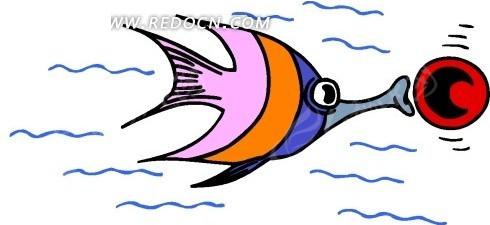 儿童画蓝色线条的神仙鱼