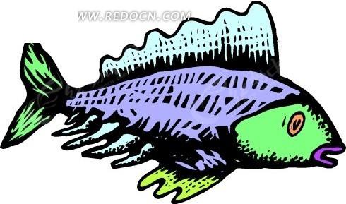 儿童手绘彩色的小鱼矢量素材