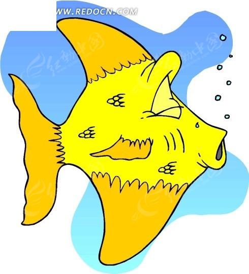 游动的黄色神仙鱼手绘素材