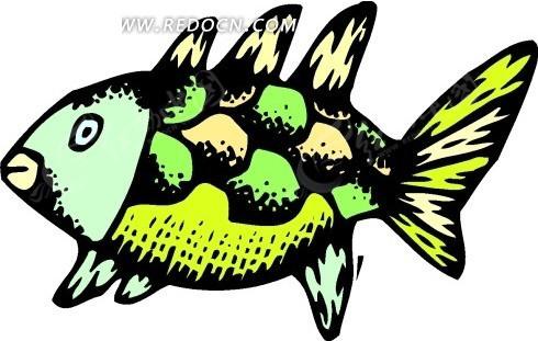 手绘五颜六色的一条鱼矢量图_水中动物