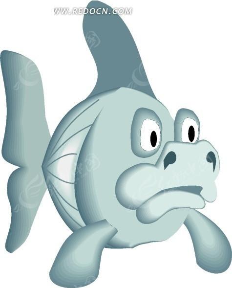 手绘插画长着猪鼻子的鱼矢量图