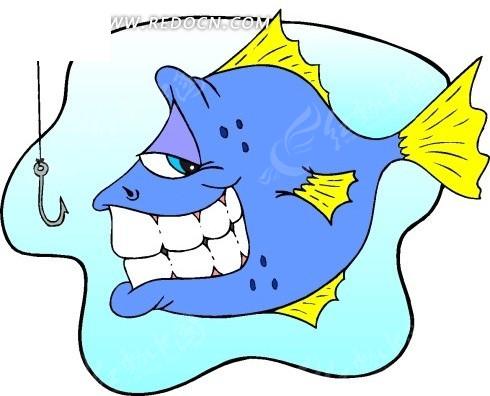 儿童绘画露出牙齿阴笑的鱼图片