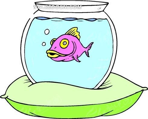 儿童手绘放在枕头上装着鱼的鱼缸