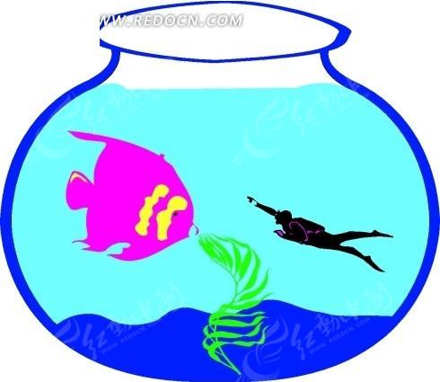 儿童手绘鱼缸里的潜水员和鱼