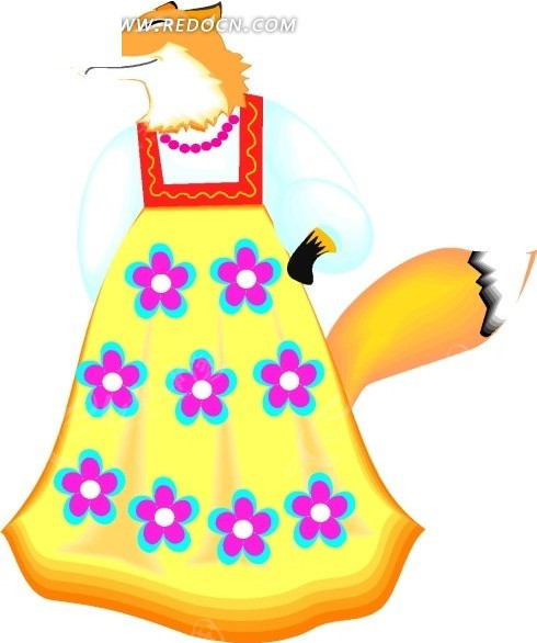 免费素材 矢量素材 生物世界 陆地动物 卡通画穿着花裙子的狐狸  请您