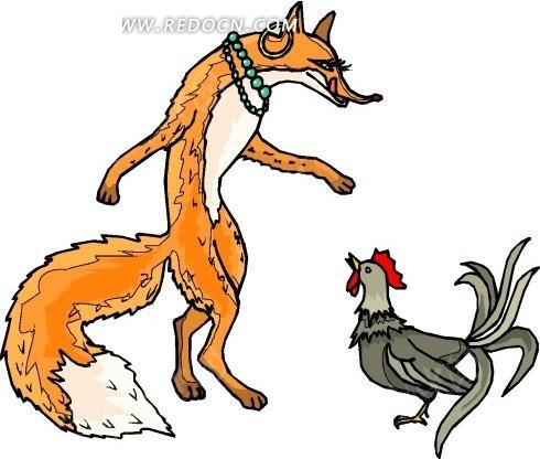 手绘看着鸡舔舌头的狐狸