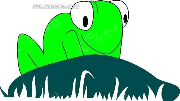 儿童绘画蹲着的一只绿色青蛙其他免费下载_陆地动物
