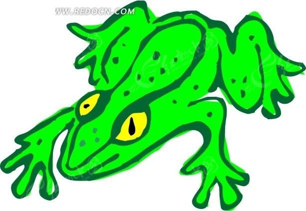 手绘插画绿色的青蛙