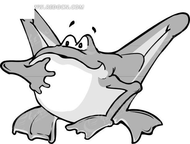 儿童手绘银白的青蛙