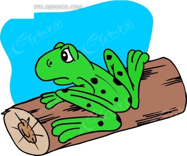 手绘趴在圆木上的青蛙其他免费下载_陆地动物素材