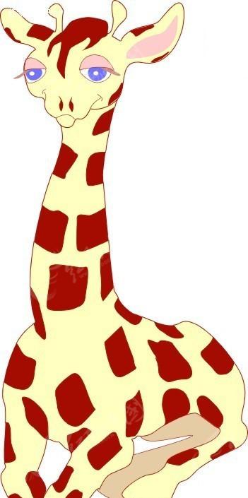 长颈鹿 卡通动物 卡通画 插画 手绘 矢量素材 动物图片 卡通形象 免