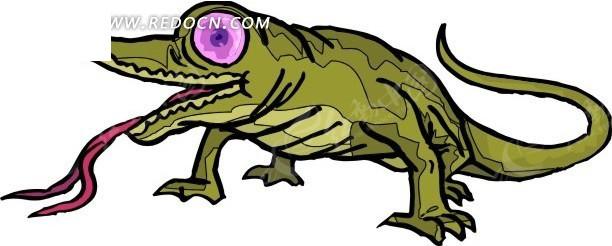 壁虎 变色龙 卡通动物 卡通画 插画 手绘 矢量素材 动物图片 卡通形象