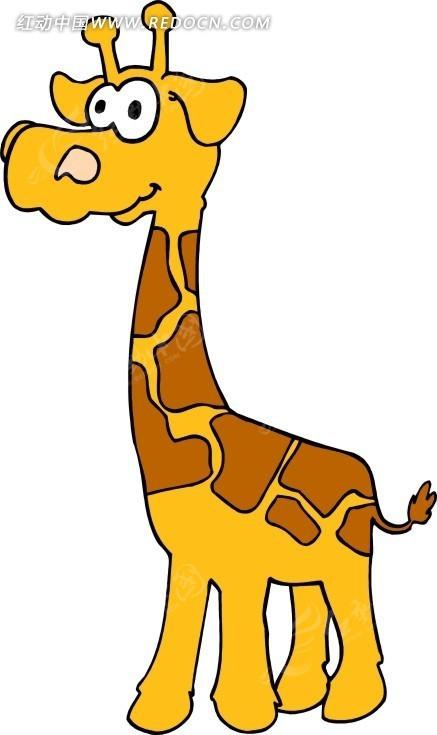 免费素材 矢量素材 生物世界 陆地动物 手绘卡通画黄色的小长颈鹿  请