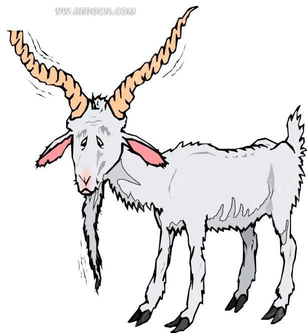手绘一只瘦肉的山羊