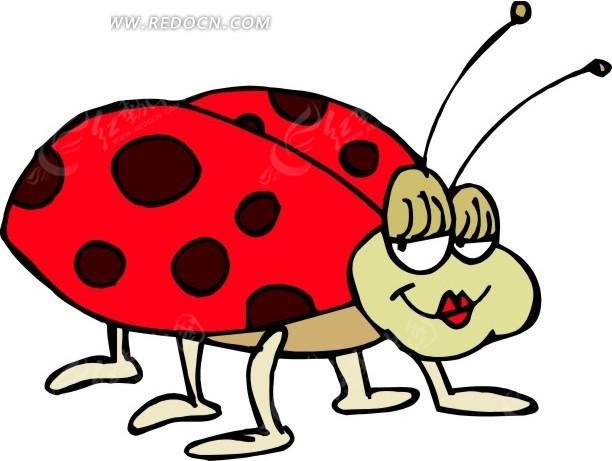 瓢虫 卡通动物 卡通画 插画 手绘 矢量素材 动物图片 卡通形象 免费