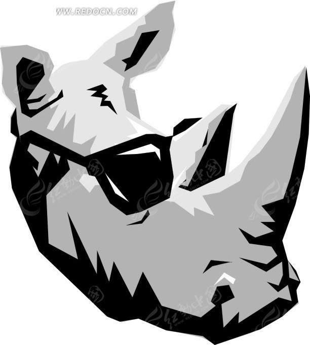 手绘戴墨镜的犀牛头像矢量素材