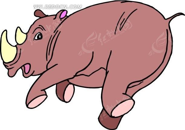 手绘奔走的犀牛其他免费下载_陆地动物素材