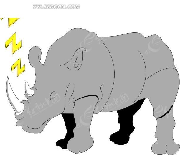 手绘站着睡觉的犀牛矢量图