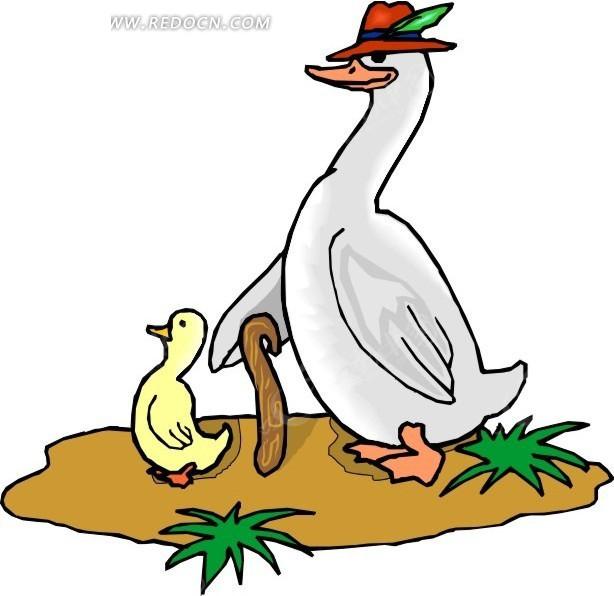 日本手绘小清新插画鸭子