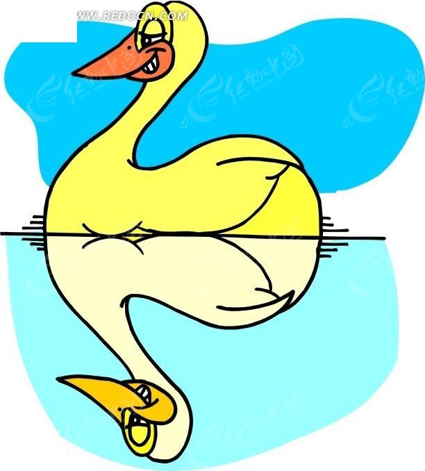 手绘天鹅和鸭子