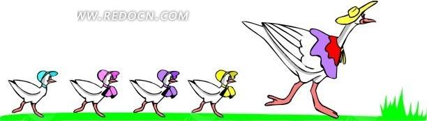 手绘跟在鸭妈妈后的一排小鸭子