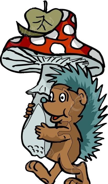 手绘抱着蘑菇的小刺猬
