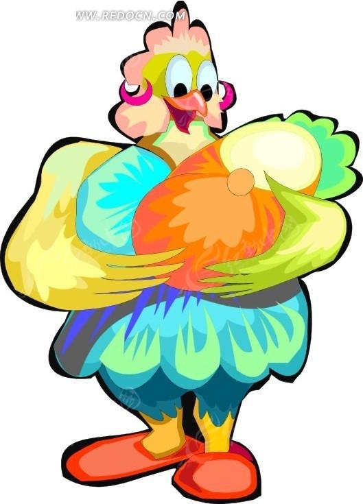鸡 小鸡 卡通动物 卡通画 插画 手绘 矢量素材 动物图片 卡通形象