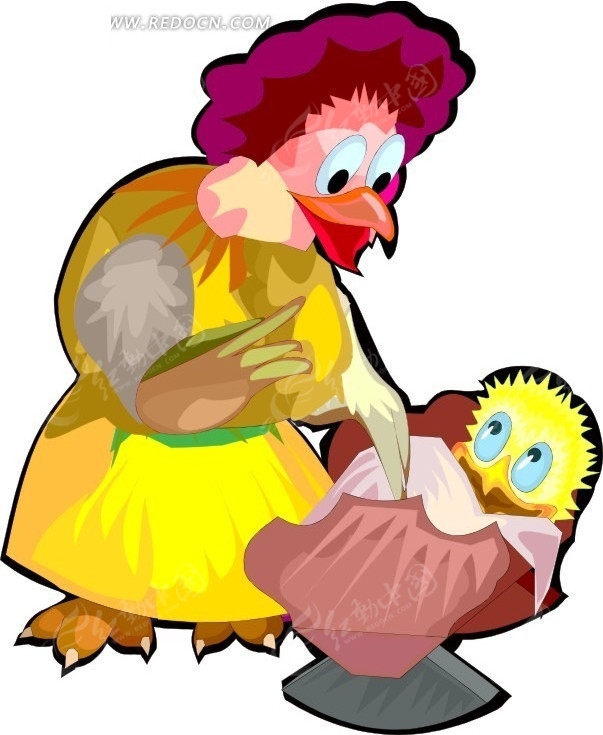 卡通画鸡妈妈和小鸡