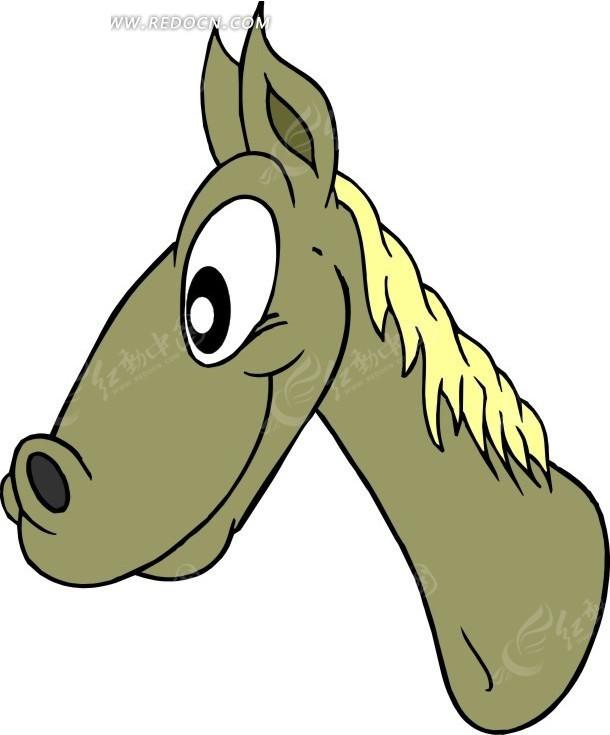 卡通动物形象瞪大眼睛的马头矢量图