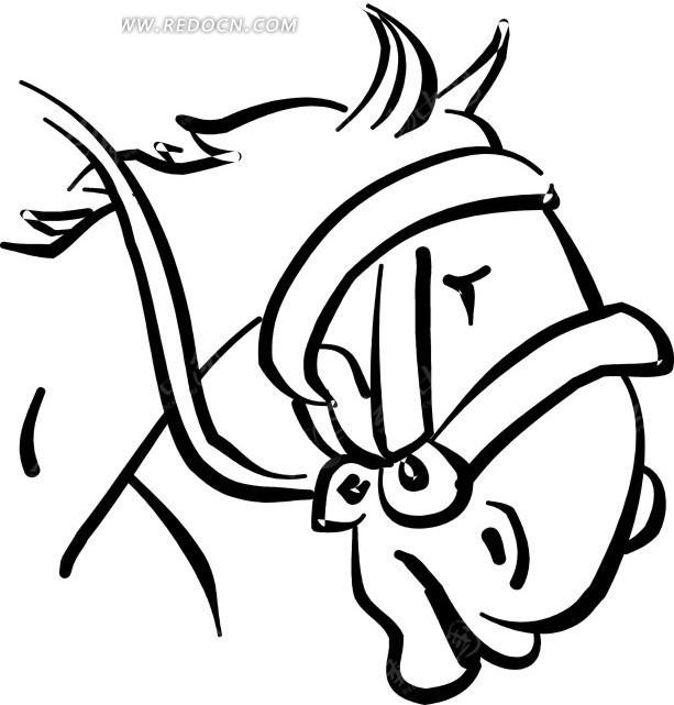马 马头 线描图案 卡通画 插画 手绘 矢量素材 动物图片 卡通形象