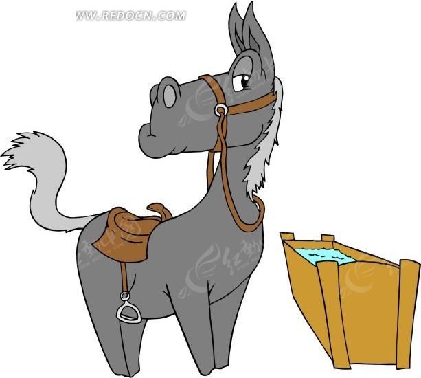 卡通画水槽边上的灰色小马图片