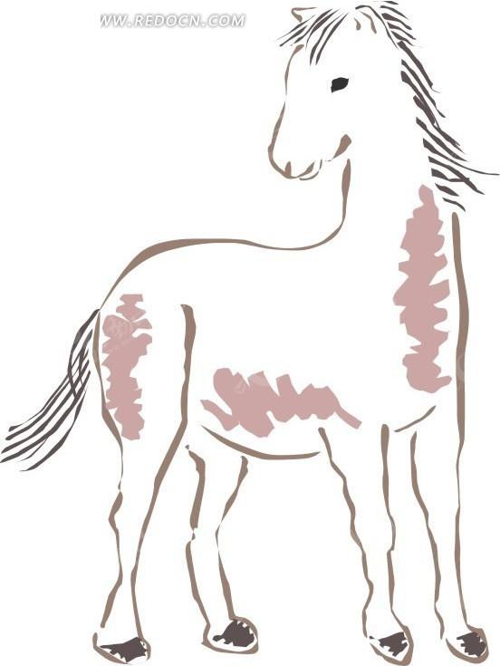 手绘一匹白马