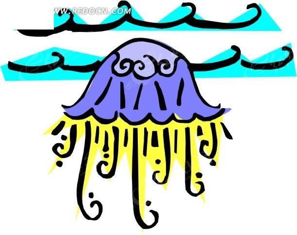 水母 卡通动物 卡通画 插画 手绘 矢量素材 动物图片 卡通形象 免费
