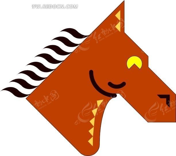 手绘抽象的马头图案