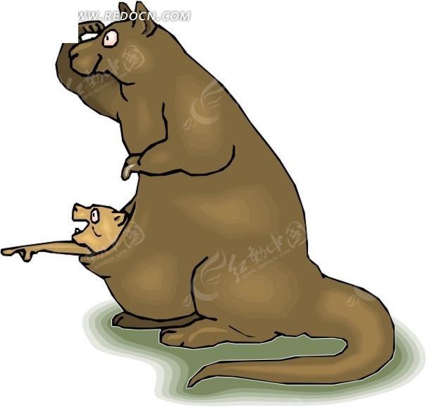 手绘张望的袋鼠母子矢量图_陆地动物