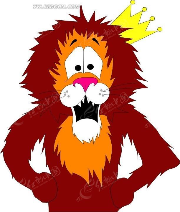 狮子 卡通动物 卡通画 插画 手绘 矢量素材 动物图片 卡通形象 免费