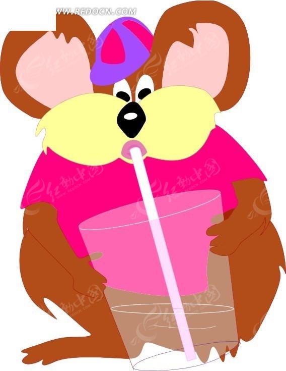 手绘喝饮料的树袋熊