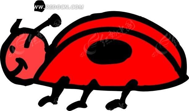 儿童手绘一只红色小瓢虫
