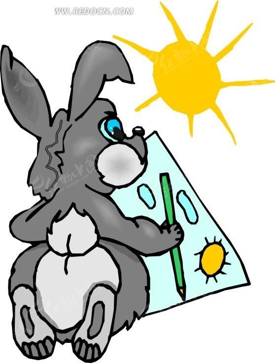 卡通画太阳下画画的兔子图片