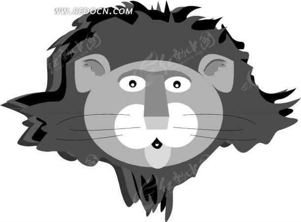 手绘雄狮头像矢量素材