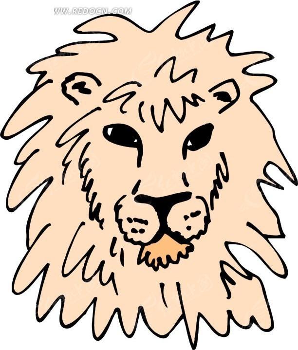 儿童手绘狮子头像矢量素材