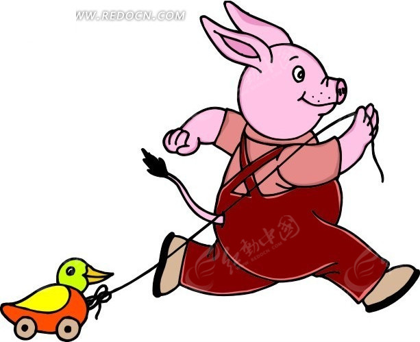 卡通画拉着玩具鸭子跑的猪
