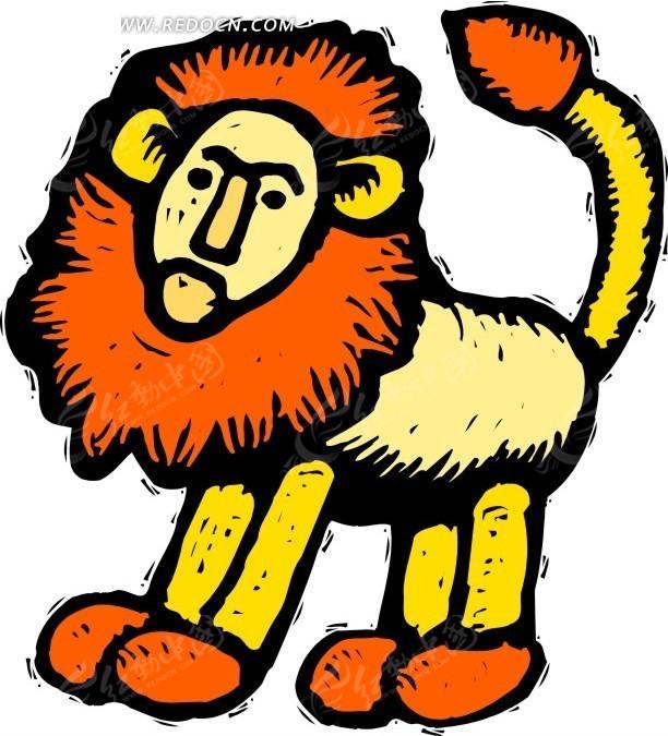 手绘绘画雄狮矢量素材