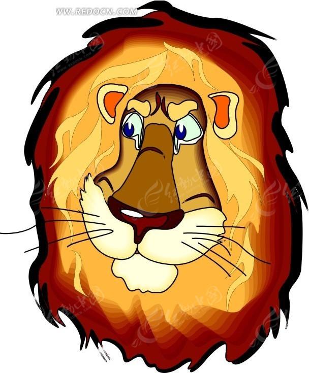 手绘狮子头像矢量素材