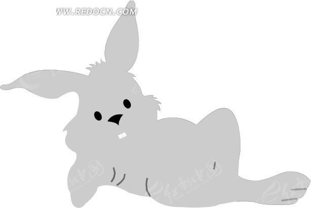 手绘躺着的灰色兔子