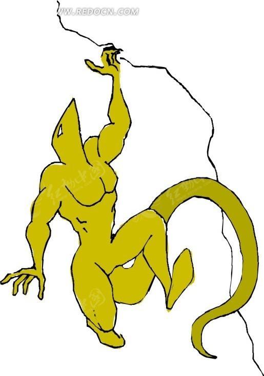手绘插画攀岩的蜥蜴人