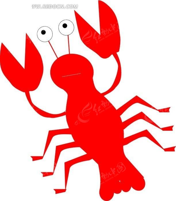 手绘红色虾